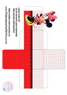 Caixa Cubo 3D Minnie Vermelha Mickey E Minnie Mouse, Mickey Mouse Wedding, Minnie Mouse Birthday Decorations, Kids Birthday Themes, Minnie Birthday, Mickey Party, Scrapbook Da Disney, Diy Gift Box, Mouse Parties