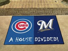 """Chicago Cubs - MLB - Milwaukee Brewers House Divided Rugs 33.75""""x42.5"""""""