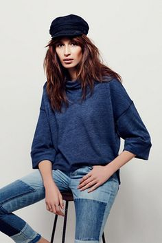 Coziest Cocoon Pullover | Free People Subtly heathered, this American made super soft and comfy pullover features a wide cowl neck and three-quarter length sleeves.