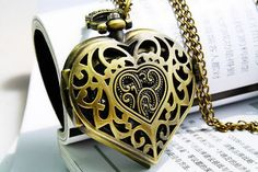 Vintage Steampunk Harry Potter Locket Heart Pendant Pocket Watch