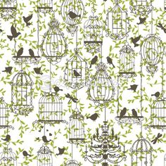Birds and cages vintage pattern | Stock Vector © yaskii #7146260