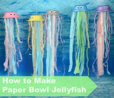 Resources Paper Bowls Pearlescent Paint Wiggly Eyes Ribbons Crepe Paper Glue How To How to Make a Paper Bowl Jellyfish: Paint the underside of a paper bowl and then leave the paint to dry. Add some wiggly eyes. Make a hole in (art crafts for kids fish) Under The Sea Crafts, Under The Sea Theme, Classroom Displays, Classroom Themes, Ocean Themed Classroom, Atelier Theme, Paper Bowls, Paper Plates, Paper Plate Crafts