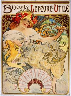 Biscuits Lefevre-Utile Vintage French Nouveau Poster Mucha Art Advertisement #ArtNouveau