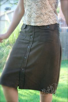 redfly Creations: Woman's Skirt from a Man's Dress Shirt