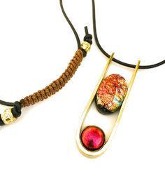 Contemporary Necklace Adjustable Necklace Unisex Jewelry Minimalist Jewelry Fused Dichroic Glass Brass Pendant Necklace