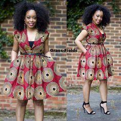 Nuju African short dress, knee length, african clothing, african dress, the… African Dresses For Women, African Print Dresses, African Fashion Dresses, African Attire, African Wear, African Women, Ghanaian Fashion, African Prints, Nigerian Fashion