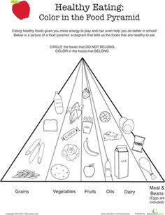 Worksheets: Healthy Eating: Color the Food Pyramid
