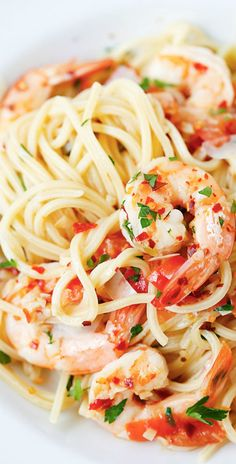 Spicy Shrimp Pasta – the easiest and best shrimp pasta with chili flakes, in a buttery and lemony garlic herb sauce, takes 20 mins!   rasamalaysia.com
