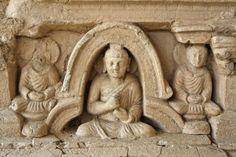 Pakistan - Punjab - Taxilla - detail of a buddhist stupa