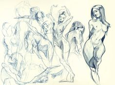 Figure Drawings by Jerry Sabatini: so beautiful in composition, line, and shading  technique is spot on, yet the figures still come off as illustrations with the artist's own style  i especially loved that he has so many on one page