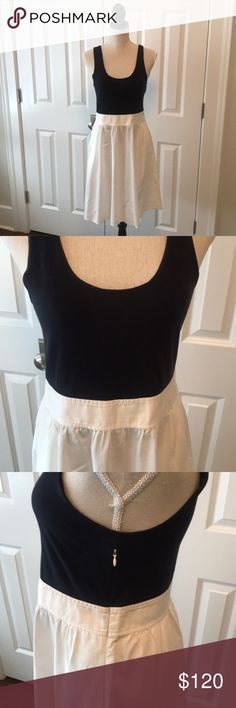 Theory tank dress Theory dress with black tank and white attached skirt. Theory Dresses