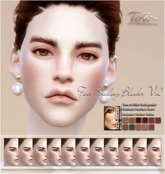 Face shading blusher at tifa sims The Sims, Sims Cc, Sims 4 Cc Eyes, Sims 4 Cc Skin, Sims 4 Cc Makeup, Queen Makeup, Sims 4 Game, Sims 4 Update, Sims Mods