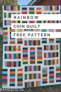 Looking for your next big summer project? Then the Rainbow Coins Quilt Pattern is perfect for you! This stunning and colorful quilt pattern uses a Chinese coin quilt pattern, which is one of the most popular techniques out there. Boys Quilt Patterns, Jelly Roll Quilt Patterns, Modern Quilt Patterns, Jellyroll Quilts, Lap Quilts, Scrappy Quilts, Quilting Tutorials, Quilting Designs, Quilting Ideas
