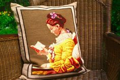Country living: The Reader. Upcycled Vintage needlepoint to beautiful Pillowcase
