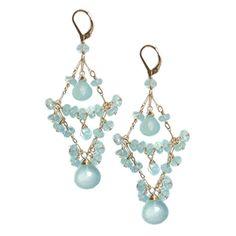 Delilah Chandelier earrings in blue green chalcedony for Sophia & Chloe jewelry.  One of my very favorite stones.