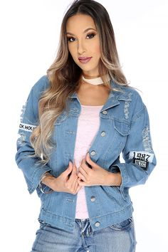Look in style with this trending distressed denim & get yourself this jean jacket it features; bold dark blue color, long sleeves, collared, front pockets, patch detail, distressed, button up closure, finished off with fitted wear. 100% Cotton.
