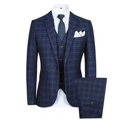 Dress in Great Gatsby Clothes for Men CCXO Men's Slim Plaid Modern Fit One Button 3-Piece Suit Blazer Dress Suit Jacket Tux Vest & Trousers $79.99 AT vintagedancer.com