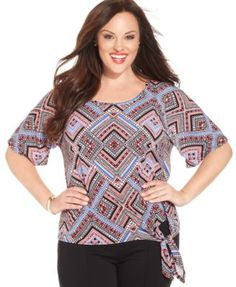 Ny Collection Plus Size Geo-Print Side-Tie Top
