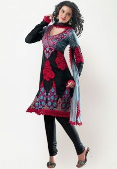 Embroidered Black And Red Material