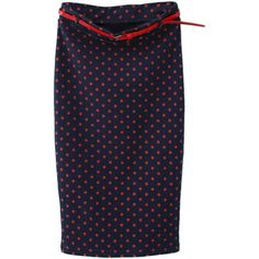 Navy Polka Dot Print High Waist Midi Pencil Skirt (2.240 RUB) ❤ liked on Polyvore featuring skirts, polka dot midi skirt, high waist knee length pencil skirt, high waisted midi skirt, navy blue skirt and high waisted skirts