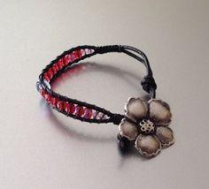 Ladder Bracelet Flower Bead Bracelet Leather by PBandJLane on Etsy, $15.89