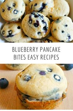 These blueberry pancake bites are great to make ahead for early mornings. Back to school means back to early mornings. When we've got to fly out of the house for school, these make ahead blueberry pancake recipe are the best quick breakfast idea for the kids! Blueberry Bagel, Easy Blueberry Muffins, Blueberry Recipes, Bagel Bites, Pancake Bites, Pancake Muffins, Baby Food Recipes, Easy Recipes, Easy Meals