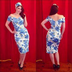 002bb278b19b Blue Rose Fatale Dress, a 1950's style Sorrento Rose wiggle dress by The  Pretty Dress Company