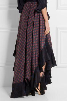 Lanvin | Asymmetric ruffled printed silk maxi skirt | NET-A-PORTER.COM