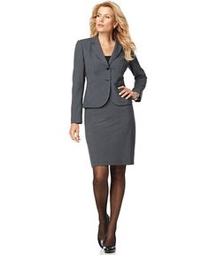 Charter Club Two Button Suiting Blazer & Pencil Skirt - Womens ...