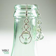 Art Deco Chandelier Earrings - Sterling Silver & Recycled Glass Bead, $40.00
