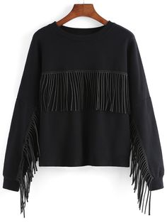 Embroidered Fringe Loose Sweatshirt 18.67