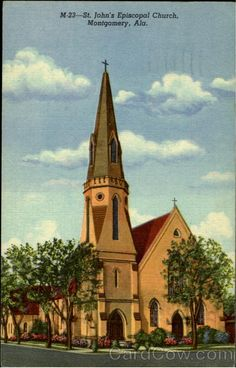 Bishop Cobbs dedicated the new church on Dec. 2, 1855. St. John's Episcopal Church in Montgomery Alabama. Image from http://www.cardcow.com/65706/st-johns-episcopal-church-montgomery-alabama/.