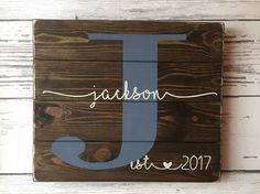 Sign measures approx. 16 x 1.5 x 14. Larger version of this sign available here: https://www.etsy.com/listing/292370247/last-name-sign-guest-book-sign Each sign is handmade to order just for you! The sign is made with the name and established date/year you provide. Please leave the following information in the Remarks to Seller when checking out: 1.) Last name and 2.) Established date or year Sign ships in approx. 7-14 days after order is placed. The color sel...