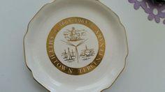 Smithtown NY Tercentenary Commemorative Ceramic Plate 1665-1965 Rare Gold Trim