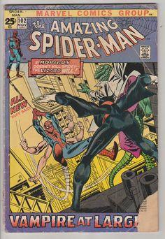 Amazing Spider-Man; Vol 1, 102, libro de historietas de la edad del bronce. GD. de noviembre de 1971.  Amazing Spider-Man 102 está escrita por Roy Thomas, con Gil Kane en tapa y arte interior. Este es el 2 º aspecto y origen de Morbius el vampiro vivo.