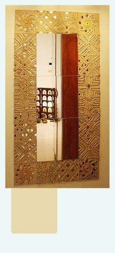 Lippan kaam (Mud Mirror art) from Kutch Gujarat, India - Mirror Frame