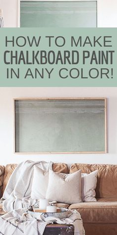 How to make chalkboard paint any color you want! See this easy tutorial on how to get custom chalkboard paint colors and so much more! Chalkboard Paint Recipes, Colored Chalkboard Paint, Make Chalk Paint, Make A Chalkboard, Chalkboard Decor, Black Chalkboard, Chalkboard Drawings, Chalkboard Lettering, Chalkboard Paint Walls