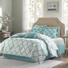 Refresh your master suite or guest room with this lovely comforter set, showcasing a trellis pattern in aqua.   Product: 1 Comf...