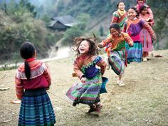 Playing jump rope, Sapa Vietnam