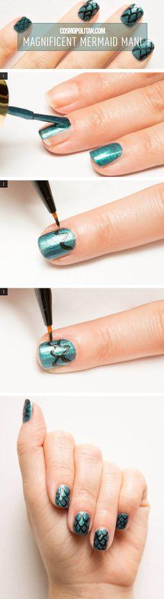 Because what's sexier than a mermaid? Mermaid nail art, that's what.