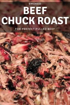 Smoked Pulled Beef Chuck Roast is like best Sunday pot roast you've ever had with an extra kiss of smoked flavor you never knew you wanted. Tender, melt in your mouth, full of beefy flavor. Great alternative to pulled pork! Smoked Beef Roast, Smoked Chuck Roast, Beef Chuck Roast, Bbq Beef, Beef Chuck Steaks, Barbecue Pit, Beef Meals, Smoked Pork, Bbq Grill