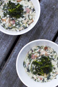 Nettle & bacon risotto. http://www.jotainmaukasta.fi/2014/05/08/aitienpaivaruokia-ja-juomia/