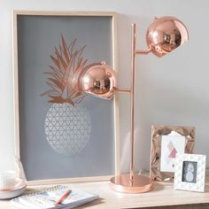 Lampe mit 2 Spots aus Metall H 56 cm COPPER