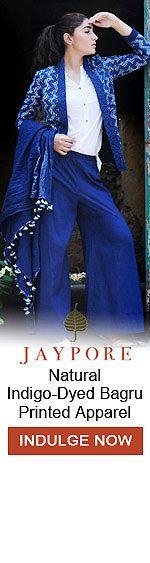 Buy Indigo Rhymes by Jaypore Indigo-Dyed Bagru Printed Apparel Online at Jaypore.com