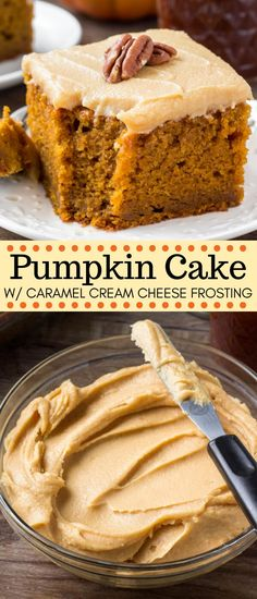 This Pumpkin Cake with Caramel Cream Cheese Frosting is hands down, the best pumpkin cake recipe I've ever tried. It's moist, flavorful and filled with pumpkin spice. cake recipes Pumpkin Cake with Caramel Cream Cheese Frosting The Best Pumpkin Cake Recipe, Pumpkin Cake Recipes, Pumpkin Dessert, Easy Cake Recipes, Dessert Recipes, Fall Recipes, Frosting Recipes, Caramel Recipes, Dinner Recipes