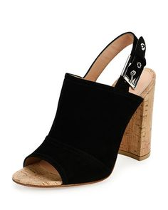 Suede+Peep-Toe+Slingback+Sandal,+Black+by+Gianvito+Rossi+at+Neiman+Marcus.