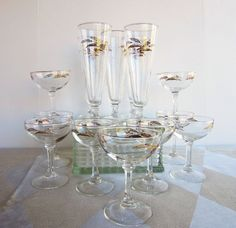 Mid Century Glassware  Pilsners  Champagne  by AmeliaRoseVintage, $52.00