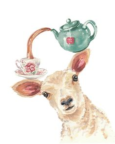 Lamb Watercolor PRINT - 5x7 Painting Print, Tea Pot, Tea Watercolour, Sheep Illustration, Kitchen Art