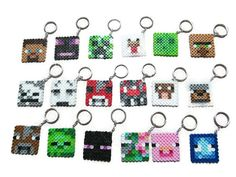 Unofficial Minecraft Inspired Face Keychain Keyring Zombie Steve Creeper // Minecraft Inspired Birthday Party Favor // Stocking Stuffer
