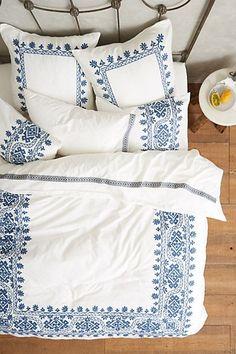 Aari Embroidered Duvet #anthropologie  Reminds me of Mama Mia #blueandwhitebedding